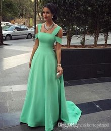 Nude Red Lining Dress Australia - A-Line Mint Green Evening Dresses Spaghetti Simple Red Carpet Gowns Back Zipper Sweep Train Custom Made Formal Occasion Dresses Beautiful