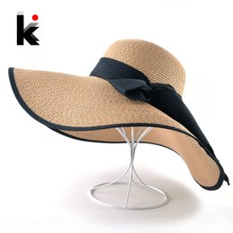 white floppy hats NZ - Fashion Straw Hat For Women Summer Casual Wide Brim Sun Cap With Bow-knot Ladies Vacation Beach Hats Big Visor Floppy Chapeau D19011103