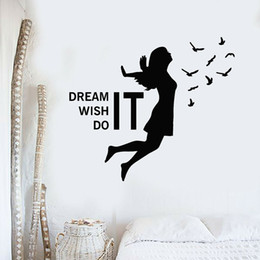$enCountryForm.capitalKeyWord NZ - Dream Wish Do It Inspirational Quote Wall Decals Bedroom Girl Birds Stickers Home Interior Decoration Living Room Murals