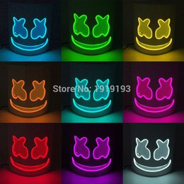 $enCountryForm.capitalKeyWord Australia - Halloween Led Marshmello EL Mask Full Face Glow Party Supplies for Cosplay Masquerade DJ Night Club Bar Rave Party Mask By Steady