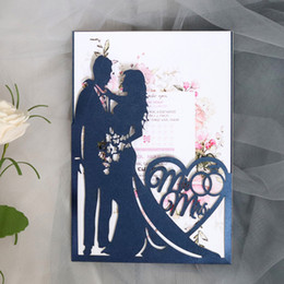 Wedding cards brides groom online shopping - 2019 New Set Laser Cut Wedding Invitations Card Bride and Groom Greeting Cards Envelopes Wedding Party Supplies