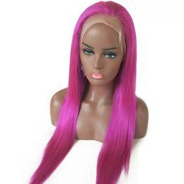 Red Black Brazilian Hair 24 Australia - Wholesale price rose red Brazilian virgin human hair glueless full lace wigs for black woman free parting