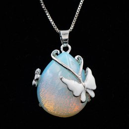 $enCountryForm.capitalKeyWord Australia - Fashion Waterdrop Synthetic Opal Pendant Necklace with Butterfly Silver Color Chain Necklaces Pendants For Women Jewelry