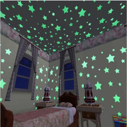 Discount pvc wall stickers glow dark - 100 pcs 3D stars glow in the dark Luminous on Wall Stickers for Kids Room living room Wall Decal Home Decoration poster