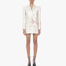 Styles Fashion Suits Australia - Designer fashion week White Glitter Top Woman Coat Fashion Slim V Neck Sexy OL Style Day Suit Jacket 2019 Ladies New