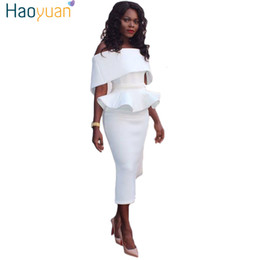 $enCountryForm.capitalKeyWord NZ - Haoyuan Ruffle Off Shoulder Strapless Sexy Dress 2018 Summer Sundress Tunic Backless Bodycon Dresses Plus Size Women Clothing J190509