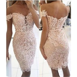 Lace One Shoulder Knee Length Dress Australia - Sexy Short Sheath Prom Dresses Full Lace Applique Sequins Beaded 2019 Off Shoulder Knee Length Cocktail Party Dress Cheap Evening Gowns