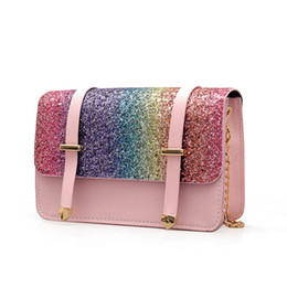 Phone Chain Color Australia - Women Shoulder Bags Laser Dazzle Color Handbags Solid Sequined Chains Bags Cover Flap Women Handbags Fashion Fanny Phone Bolsa