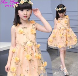 chiffon 3d flower tutu Australia - Big Girls 2018 Summer Dress Children Sleeveless 3D Flower Printed Vest Princess Dresses Kids Clothing Girl Lace Gauze Tutu Dress 120-160cm