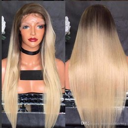 $enCountryForm.capitalKeyWord Australia - Platinum Blonde Straight Long Wig 180% Density Synthetic Lace Front Wig With Baby Hair Long Heat Resistant Wig Ombre Wigs For Black Women