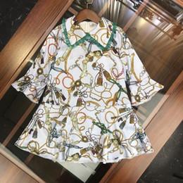 $enCountryForm.capitalKeyWord Australia - Kids Designer Clotheskids Clothes Girls Dress Skirt High-end Elegant Irregular Printed Lotus Leaf Sleeve Dress Low-key Gorgeous