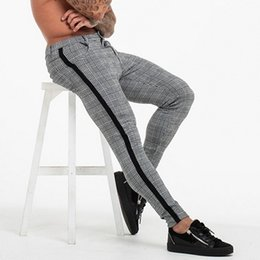 men s slim trousers Australia - Casual Mens Chinos Cotton Slim Fit Men Pants Trousers Skinny Chinos Pants Grey Ankle Length Streetwear Plaid Side Stripe