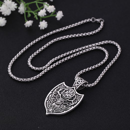 Talisman necklace online shopping - Skyrim Viking Deer Sekira Amulet Pendant Necklace Men Nordic Talisman Pagan Aegishjalmur Compass Chain Necklaces Jewelry Gift