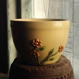 Folk Art Christmas Australia - Christmas gift Handmade Soil clay Sculpture flower special art craft in China On tea cup For Living Room office Art Decorate