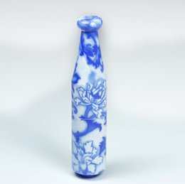 white ceramic pipe UK - Ceramic pipe length 78MM individualized blue and white porcelain