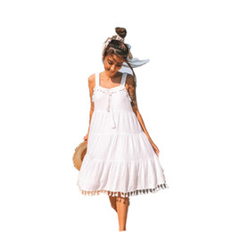 b6443d9d23 2019 hot sale summer fashion sweet womens dresses fringed side straps  sleeveless dress bohemian holiday beach dress 8039