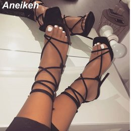 gladiator open toe sandal NZ - Aneikeh 2019 New Summer Sexy Pu High Heels Shoes Sandals Gladiator Ankle Strappy Open Toed Stilettos Gold Party Dress Pumps Shoe Y19070503