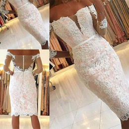 $enCountryForm.capitalKeyWord Australia - Modest Sexy Knee Length Long Sleeve Short Prom Dresses White Champagne Tulle Appliques Lace Homecoming Party Dresses Special Occasion Dress