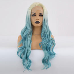 Blue synthetic curly hair online shopping - Body Curly Lace Front Wig Ombre Blue Hair Heat Resistant Fibers Synthetic Lace Front Wig Glueless Half Hand Tied for All Women
