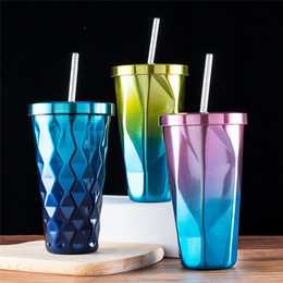 $enCountryForm.capitalKeyWord Australia - Diamond Gradient Stainless Steel Cups With Straws 500ml Drinking Tumblers Eco-Friendly Cups