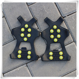 Spike Stud Boots Australia - Outdoors Ice Snow Grips Over Shoe Boot Traction Cleat Rubber Spikes Anti Slip 10 Stud Crampons Slip Stretch Footwear