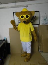 $enCountryForm.capitalKeyWord Australia - High quality Brown Bear Mascot Costume Adult With Big Yellow Glasses Khaki Mouth Happy Face Fancy Dress