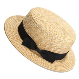 straw boater hats UK - Women Summer Beach Sun Hats 2017 Brand New Flat Top Straw Hat Men Boater Hats Bone Feminino Y19070503