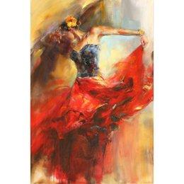 Dipinti a mano Belle danze in opere d'arte moderna dipinti ad olio per la decorazione della parete dell'ufficio in Offerta