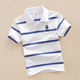 Orange T Shirts For Boys NZ - good qulaity summer boys t-shirt fashion striped cotton short sleeve tops for children cartoon formal overalls kids bebe clothing