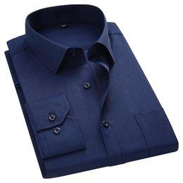 Wholesale white male free shirts online – design Plus Large Size XL XL XL XL Mens Business Casual Long Sleeved Shirt Classic White Black Dark Blue Male Social Dress Shirts
