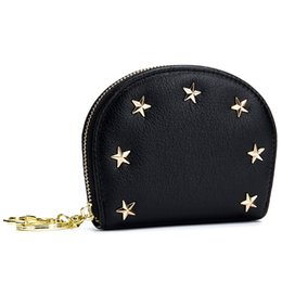 Chinese  Star Rivet Designer Business Card Holder Genuine Leather Girl's Mini ID Credit Bags Shell Women Bus CardHolder Mini Purse Case manufacturers
