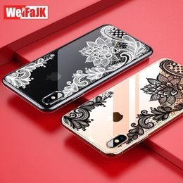 lace iphone 5s cases UK - Luxury Silicone Phone Case For Iphone 8 7 6 6s Plus 5 Se 5s Case Lace Flower Girl Soft Cover For Iphone X Xr Xs Max Case