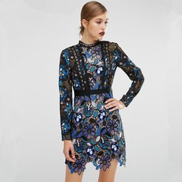 263bf8e6189 2017 Vintage Women Fashion Blue Lace Runway Party Dresses Long Sleeve  Hollow Out Leaf A-line Knee-length Dress Y19012201