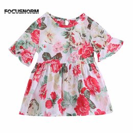boat neck blouses NZ - Lovely Baby Kids Girls Dresses Hot Summer Lace Short Sleeve O-neck Fashion Princess Floral Flounced Sleeved Tops Blouse