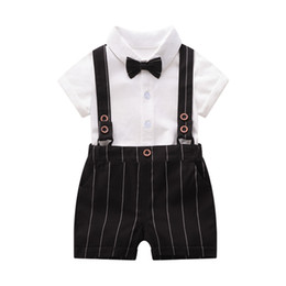 $enCountryForm.capitalKeyWord UK - Ins new boys suits baby suits newborn outfits Summer newborn baby boy clothes shirt+ suspender shorts 2pcs cotton boys clothing sets A6321