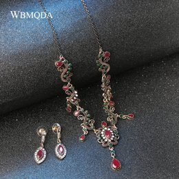 indian imitation diamond necklace sets NZ - 4Pcs lot Boho Turkish Jewelry Sets Vintage Red Necklace Bracelet Earrings Ring Set Indian Crystal Antique Gold Wedding Jewellery