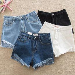 $enCountryForm.capitalKeyWord Australia - Ripped Elegant Hem Denim Shorts 2019 New Summer Mid Waist Zipper Fly Casual Woman Bottoms Straight Leg Loose Shorts Jeans