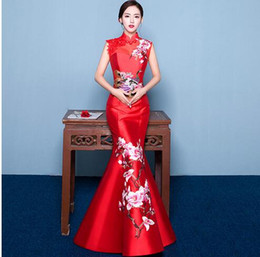 $enCountryForm.capitalKeyWord Australia - 2019 Mermaid Tail Asian style Short Sleeve Fashion Red Embroidery Bride Wedding Qipao Long Cheongsam Chinese Traditional Dress Retro