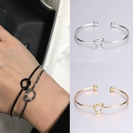 Discount cuff knots wholesale - Gothic Vintage Charm Bracelet Bangles for Women Opening Knotted Shaped Cuff Bracelet Fashion Jewelry Female Gift Wholesa