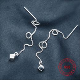 $enCountryForm.capitalKeyWord Australia - Threader Dangle Long Chain 925 Silver Ear Line Earring Cube Design Statement Women 925 Sterling Silver square tassel earrings