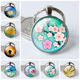 $enCountryForm.capitalKeyWord Canada - fashion7 charm pendant key ring color flower time gemstone glass dome key ring ring pendant crystal keychain