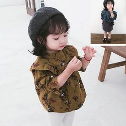 Floral Print Shirts Baby Australia - WLG girls spring printed shirts kids o-neck casual cotton shirt baby all match yellow blue floral tops children 2-7 years