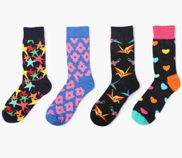 Heart Prints Australia - Cotton New Brand Meias Mens Socks Harajuku Stars Hearts Printed Long Tube Colorful Dress Socks Size 37-42
