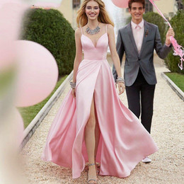 Green enGaGement dresses backless online shopping - Elegant Pink Long Prom Dresses Sexy High Slit Satin V Neck Evening Dress Backless Engagement Party Gowns