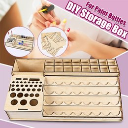 paint brush storage UK - DIY Wooden Pigment Bottle Drawer Storage Organizer Holes Color Paint Ink Brush Stand Rack Modular Holder