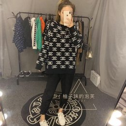 Wholesale wool coat small resale online - Sweater female new autumn and winter outside wear bottom unlined upper garment web celebrity with the same knit coat loose small