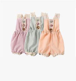 $enCountryForm.capitalKeyWord Australia - INS Designs Toddler Little Girls Rompers Frond Flower Lace Back Belt Jumpsuits Cotton Blends Copy Linen Quality Styles Children Bodysuit