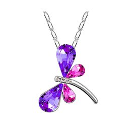 Necklaces Pendants Australia - Free Shipping Cheap Wedding Pendant Necklaces Dragonfly Butterfly Prom Rhinestone Necklace Crystal fashion jewelry Bridal Accessories F51