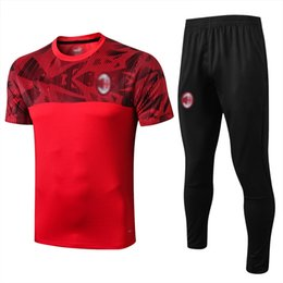 tracksuit milan UK - Top quality 2019 AC Milan adult Soccer training suit survetement 19 20 AC Milan HIGUAIN CALHANOGLU BONUCCI football Tracksuit