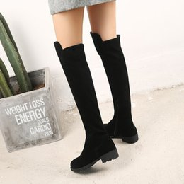 low boots NZ - Autumn and winter new women's boots frosted face round head low heel side zipper 33-46 large size high boots boots